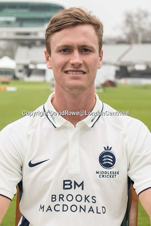 11 April 2018, London, UK.  Nick Gubbins of Middlesex County Cricket Club in the County Championship white kit .
