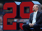 ATLANTA, GA - JUNE 08:  Former Atlanta Braves pitcher John Smoltz awaits the start of his #29 retirement ceremony and before the game between the Atlanta Braves and the Toronto Blue Jays at Turner Field on June 8, 2012 in Atlanta, Georgia.  (Photo by Mike Zarrilli/Getty Images)