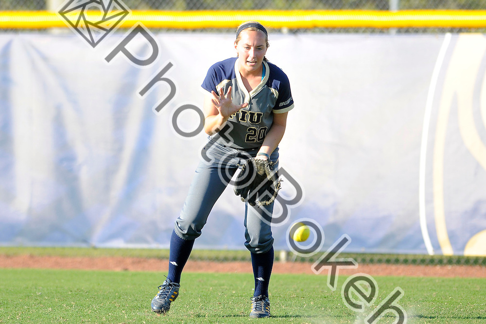 2015 February 13 - FIU's Michaela Mills (20). Florida International University defeated Memphis, 3-2, at the Felsberg Field at the FIU Softball Stadium, Miami, Florida. (Photo by: Alex J. Hernandez / photobokeh.com) This image is copyright by PhotoBokeh.com and may not be reproduced or retransmitted without express written consent of PhotoBokeh.com. ©2015 PhotoBokeh.com - All Rights Reserved