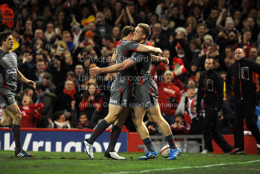 Owen Williams of Wales celebrates after he scores the 1st try. Dove Men series, autumn international rugby match, Wales v Tonga at the Millennium Stadium in Cardiff, South Wales on Friday 22nd November 2013. pic by Andrew Orchard, Andrew Orchard sports photography,