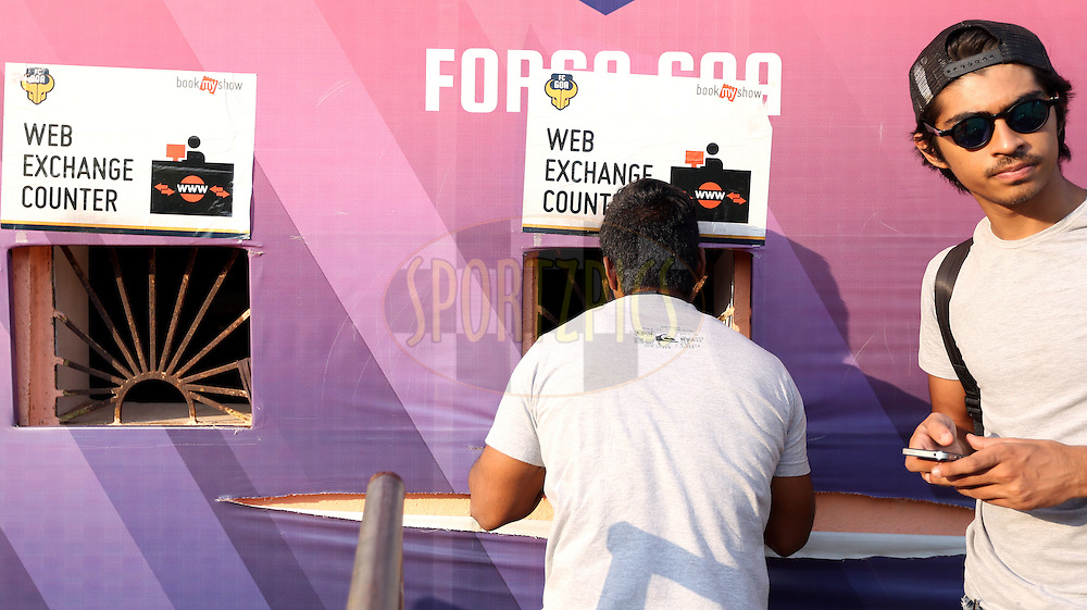 Box office during match 39 of the Indian Super League (ISL) season 2  between FC Goa and Mumbai City FC held at the Jawaharlal Nehru Stadium, Fatorda, Goa, India on the 17th November 2015.<br /> <br /> Photo by Sandeep Shetty / ISL/ SPORTZPICS