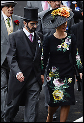 Sheikh Mohammad Bin Rashid Al Maktoum and his wife Princess Haya in the Parade ring on the Opening day of Royal Ascot 2013 Ascot, United Kingdom<br /> Tuesday, 18th June 2013,<br /> Picture by Andrew Parsons / i-Images