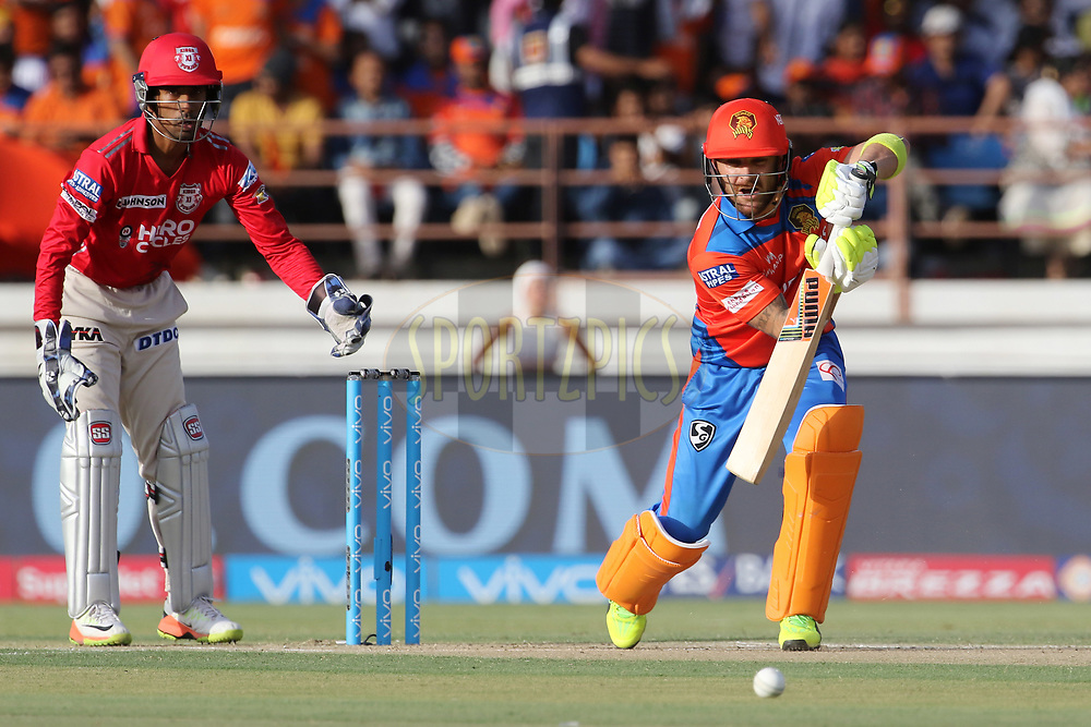 Brendon McCullum of the Gujarat Lions plays a shot during match 26 of the Vivo 2017 Indian Premier League between the Gujarat Lions and the Kings XI Punjab held at the Saurashtra Cricket Association Stadium in Rajkot, India on the 23rd April 2017<br /> <br /> Photo by Vipin Pawar - Sportzpics - IPL