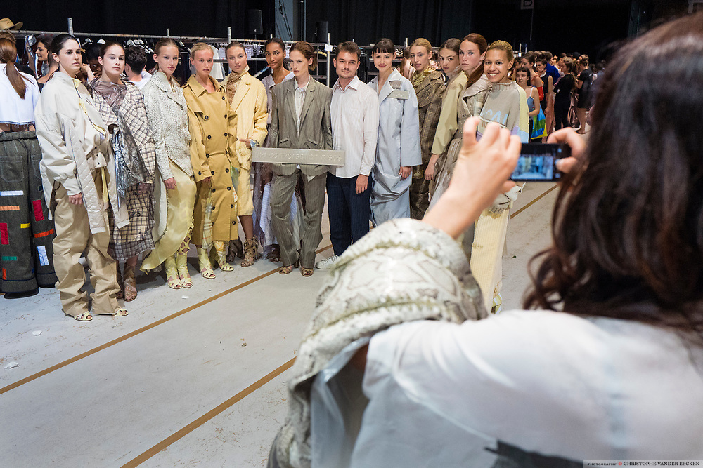 Antwerp, Belgium, 3 june 2017, Backstage at fashion show 2017 of the Antwerp fashion departement, masters.