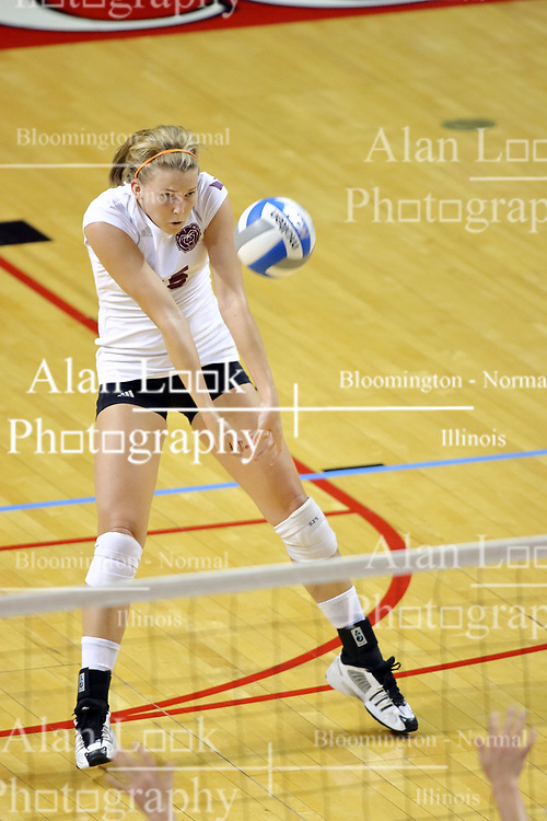 22 September 2007: Katelyn Panzau powers a dig to the front row. In a nip and tuck match, the Missouri State Bears beat the Illinois State Redbirds 3 games to one at Redbird Arena on the campus of Illinois State University in Normal Illinois.