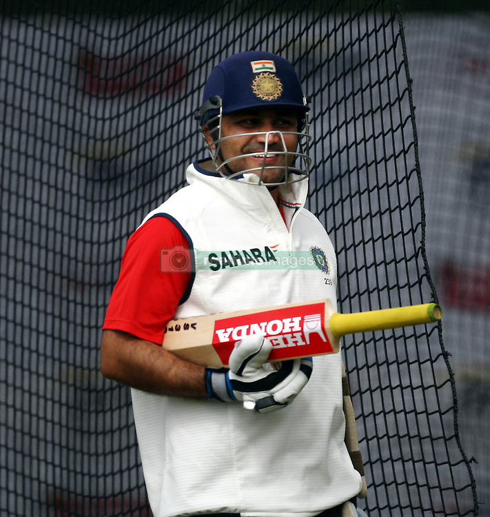 India's Virender Sehwag during a nets session at Edgbaston, Birmingham.