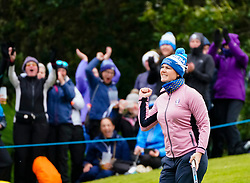 Auchterarder, Scotland, UK. 14 September 2019. Saturday afternoon Fourballs matches  at 2019 Solheim Cup on Centenary Course at Gleneagles. Pictured; Caroline Masson of Team Europe reacts after winning the 10th hole. Iain Masterton/Alamy Live News