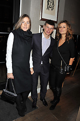 Left to right, ANDREY & YULIA ARSHAVIN and GALINA AGAPOV at a dinner hosted by Marlon & Nadya Abela at Cassis 232-236 Brompton Road, London to thank customers & friends for their custom held on 9th February 2012.