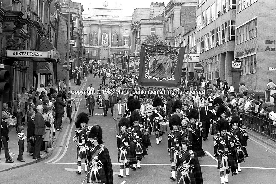 South Kirkby and Ferrymoor Riddings banners, 1983 Yorkshire Miner's Gala. Barnsley