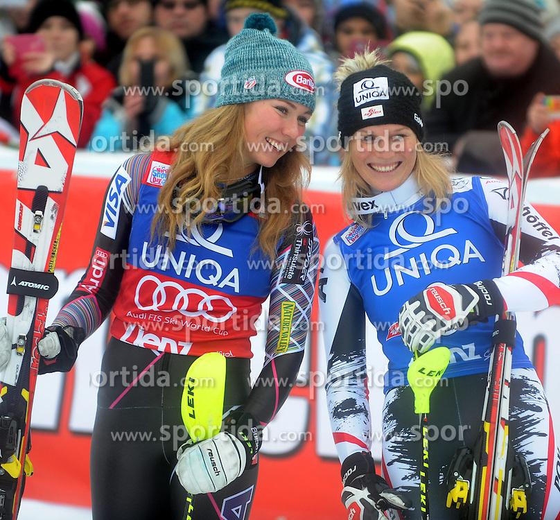 29.12.2013, Hochstein, Lienz, AUT, FIS Weltcup Ski Alpin, Lienz, Damen, Slalom 2. Durchgang, im Bild Mikaela Shiffrin (USA), Marlies Schild (AUT) // Mikaela Shiffrin (USA), Marlies Schild (AUT) during ladies Slalom 2nd run of FIS Ski Alpine Worldcup at Hochstein in Lienz, Austria on 2013/12/29. EXPA Pictures © 2013, PhotoCredit: EXPA/ Erich Spiess