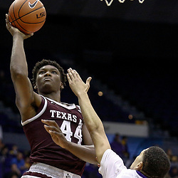 Feb 4, 2017; Baton Rouge, LA, USA; Texas A&M Aggies forward Robert Williams (44) shoots over LSU Tigers guard Skylar Mays (4) during the second half at the Pete Maravich Assembly Center. Texas A&M defeated LSU 85-73. Mandatory Credit: Derick E. Hingle-USA TODAY Sports