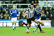 Jamaal Lascelles (#6) of Newcastle United on the ball during the Premier League match between Newcastle United and Everton at St. James's Park, Newcastle, England on 13 December 2017. Photo by Craig Doyle.