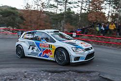 14.01.2014, Shakedownstrecke, Monte Carlo, FRA, FIA, WRC, Rallye Monte Carlo, Shakedown, im Bild OGIER Sebastien / INGRASSIA Julien ( VOLKSWAGEN MOTORSPORT (DEU) / VOLKSWAGEN POLO R ) // during the Shakedown of FIA Rallye Monte Carlo held near Monte Carlo, France on 2014/01/14. EXPA Pictures © 2014, PhotoCredit: EXPA/ Eibner-Pressefoto/ Neis<br /> <br /> *****ATTENTION - OUT of GER*****
