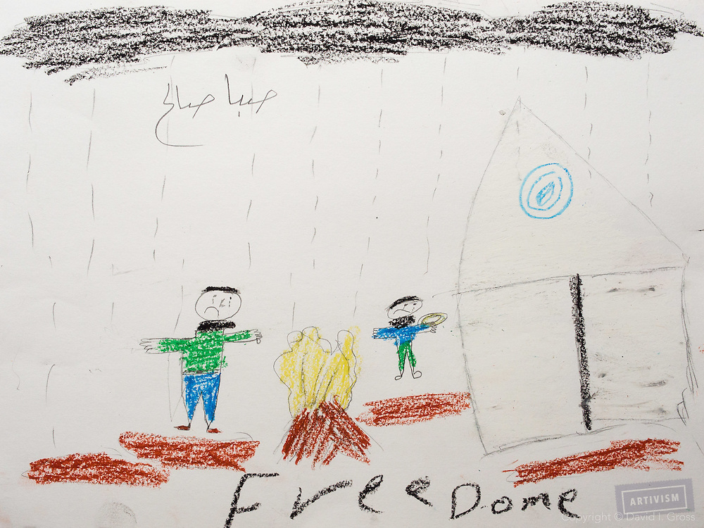"""This drawings shows a camp with two children. They are cold and hungry (one is holding a plate). They need warmth."" Drawing by Syrian girl, age 13. (Topic for this session: dealing with loss.)"
