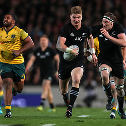 Jordie Barrett in action during the Bledisloe Cup and Rugby Championship rugby match between the New Zealand All Blacks and Australia Wallabies at Eden Park in Auckland, New Zealand on Saturday, 25 August 2018. Photo: Simon Watts / lintottphoto.co.nz
