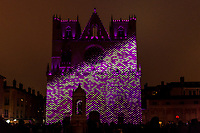 Unisson - Saint-Jean Cathedral&nbsp;, Lyon 5<br /> Artist: Helen Eastwood and Laurent Brun<br /> The&nbsp;Festival of Lights in&nbsp;Lyon,&nbsp;France&nbsp;expresses gratitude toward&nbsp;Mary, mother of Jesus&nbsp;around December 8th of each year.<br /> This uniquely Lyonnaise tradition dictates that every house place candles along the outsides of all the windows to produce a spectacular effect throughout the streets. The festival includes other activities based on light and usually lasts four days, with the peak of activity occurring on the 8th. <br /> The two main focal points of activity are typically the&nbsp;Basilica of Fourviere&nbsp;which is lit up in different colours, and the&nbsp;Place des Terreaux, which hosts a different light show each year.<br /> 
