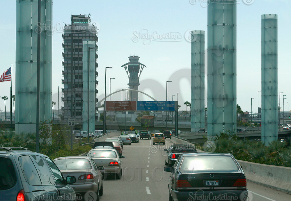 Jul 04, 2002; Los Angeles, CA, USA; Traffic entering the deprting level terminals at Los Angeles International airport.<br />