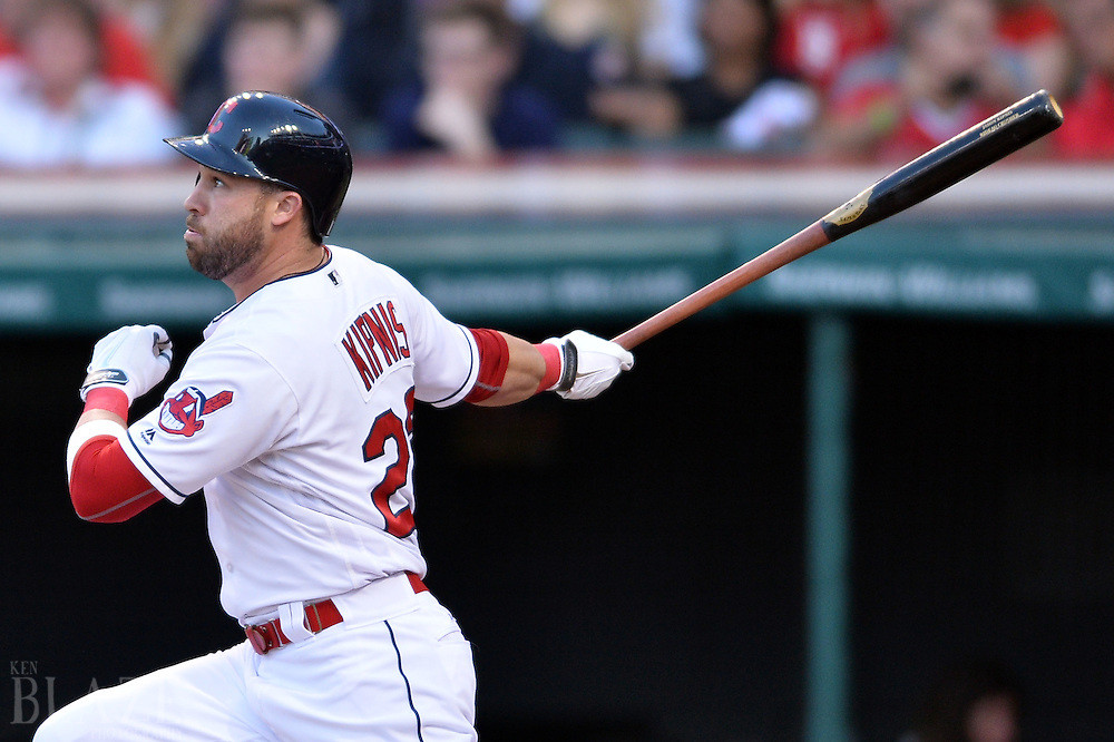 Sep 3, 2016; Cleveland, OH, USA; Cleveland Indians second baseman Jason Kipnis (22) hits a home run during the first inning against the Miami Marlins at Progressive Field. Mandatory Credit: Ken Blaze-USA TODAY Sports