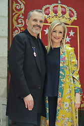 July 3, 2017 - Madrid, Spain - Spanish singer Miguel Bose  receives the 'Medalla Internacional de las Artes de la Comunidad de Madrid' from President of Madrid Cristina Cifuentes  at the Casa de Correos on July 3, 2017 in Madrid, Spain. (Credit Image: © Oscar Gonzalez/NurPhoto via ZUMA Press)