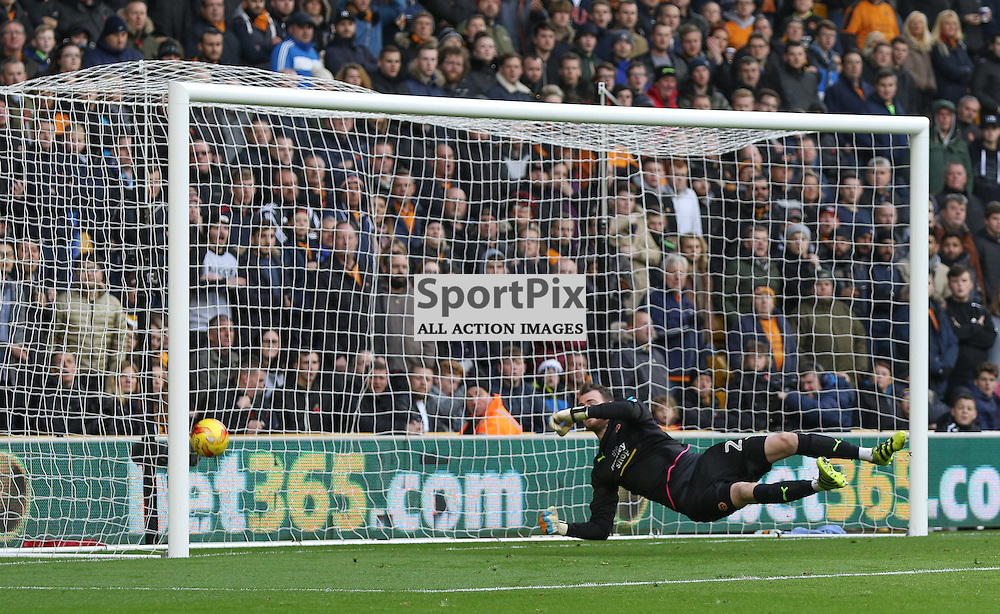 WOLVERHMPTON, UNITED KINGDOM 05 NOVEMBER 2016:  Andy Lonergan, beaten for the second goal during the league game between Wolverhampton Wanderers and Derby County in the Football League Championship at Molineux Stadium, on November 05, 2016 in Wolverhampton, England. (Photo by Michael Poole)