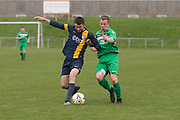 04/05/2017 - Hilltown Hotspurs (green) v Park Tool (blue and yellow) in the Dundee Saturday Morning Football League Ross Kirk Memorial Cup Final at North End Park, Dundee, Picture by David Young -