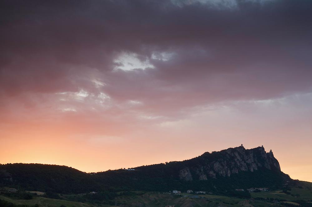 Storm clouds over Monte Titano, San Marino.