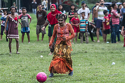 August 17, 2017 - Medan, North Sumatra, Indonesia - Indonesian men play football using women's clothing during the celebration of Indonesia's 72nd National Independence Day on 17 August 2017 in Medan, Indonesia. Indonesia became an independent state on August 17, 1945, previously under Dutch colonial rule featuring with various types of entertainment games to mark independence. (Credit Image: © Ivan Damanik via ZUMA Wire)