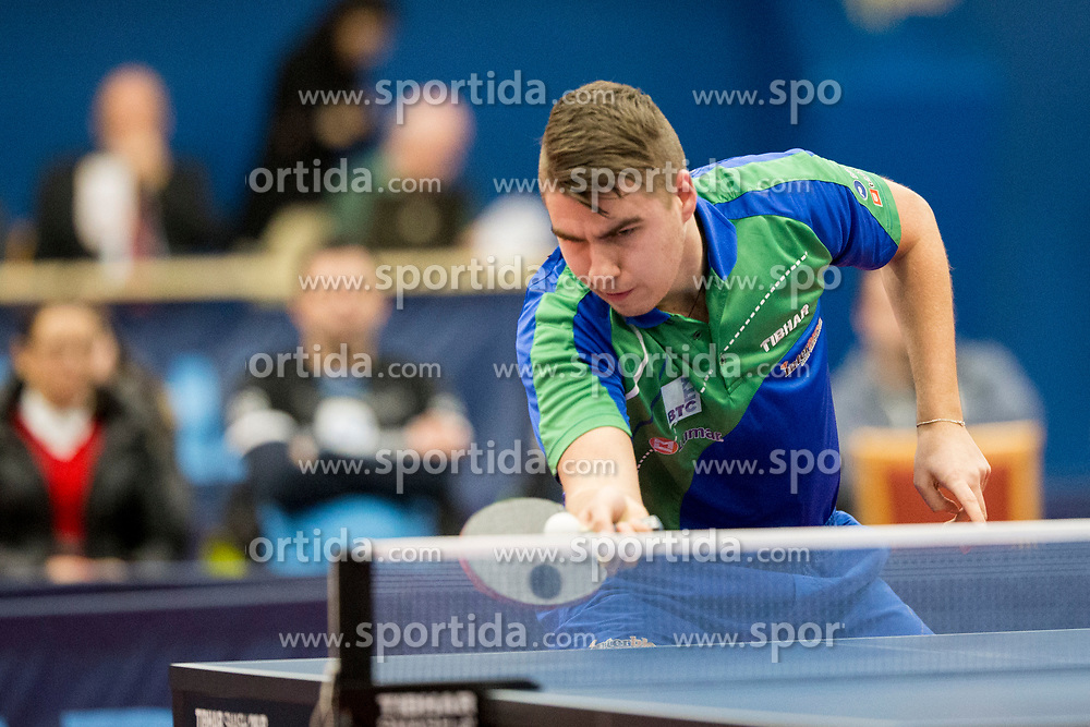 Darko Jorgic of Slovenia during Qualification match between National teams of Slovenia and Belgium for ITTF European Championship 2019, on February 27, 2018 in Otocec, Slovenia. Photo by Urban Urbanc / Sportida