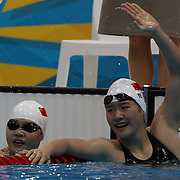 Shiwen Ye,  China, winning the gold medal in the Women's 400m Individual Medley  during the swimming finals at the Aquatic Centre at Olympic Park, Stratford during the London 2012 Olympic games. London, UK. 28th July 2012. Photo Tim Clayton