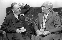 Accountants' conference, Slieve Donard Hotel, Newcastle, Co Down, N Ireland, 4th October 1975. Guests, local Ulster Unionist MP, Enoch Powell, left, with local trade unionist, Brendan Harkin, N Ireland Civil Service Alliance, exchange views during a break in the proceedings. 197510040681c<br /> <br /> Copyright Image from Victor Patterson,<br /> 54 Dorchester Park, <br /> Belfast, UK, BT9 6RJ<br /> <br /> t1: +44 28 9066 1296 (from Rep of Ireland 048 9066 1296)<br /> t2: +44 28 9002 2446 (from Rep of Ireland 048 9002 2446)<br /> <br /> m: +44 7802 353836<br /> <br /> e: victorpatterson@me.com<br /> www.victorpatterson.com<br /> <br /> Please see my Terms and Conditions of Use at www.victorpatterson.com. It is IMPORTANT that you familiarise yourself with them.<br /> <br /> Images used on the Internet must be visibly watermarked i.e. © Victor Patterson<br /> within the body of the image and copyright metadata must not be deleted. Images <br /> used on the Internet have a size restriction of 4kbs and will be chargeable at current<br />  NUJ rates unless agreed otherwise.<br /> <br /> This image is only available for the use of the download recipient i.e. television station, newspaper, magazine, book publisher, etc, and must not be passed on to any third <br /> party. It is also downloaded on condition that each and every usage is notified within 7 days to victorpatterson@me.com<br /> <br /> The right of Victor Patterson to be identified as the author is asserted in accordance with The Copyright Designs And Patents Act (1988). All moral rights are asserted.
