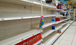 © Licensed to London News Pictures. 16/03/2020. London, UK. Empty shelves in Poundland in north London just after 8am, as panic-buying continues. 35 coronavirus victims have died and 1,372 cases have tested positive of the virus in the UK. Photo credit: Dinendra Haria/LNP