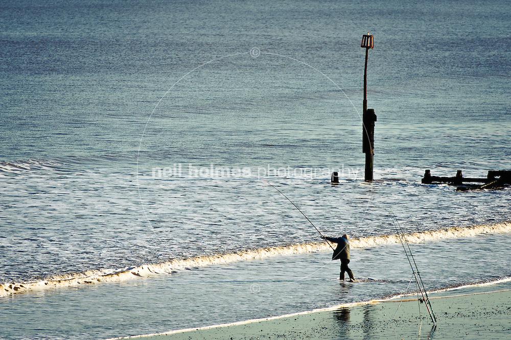 Fishing on Hornsea beach