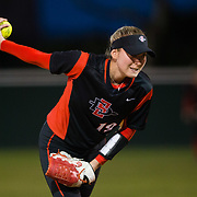 02 March 2018: San Diego State softball hosts Minnesota on day two of the San Diego Classic I at Aztec Softball Stadium. San Diego State relief pitcher Alex Formby (19) seen here in the fifth inning against Minnesota. The Aztecs beat the #21/20 Gophers 6-2.<br /> More game action at sdsuaztecphotos.com