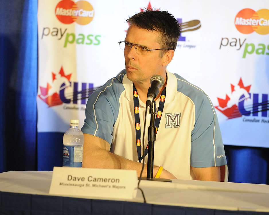 The four coaches from the partcipating teams at the 2011 MasterCard Memorial Cup met with the media at the Hershey Centre on Thursday May 19, 2011. Photo by Aaron Bell/CHL Images