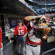 NEW YORK, NEW YORK - July 09: Catcher Wilson Ramos #40 of the Washington Nationals heads out of the dugout to catch during the Washington Nationals Vs New York Mets regular season MLB game at Citi Field on July 09, 2016 in New York City. (Photo by Tim Clayton/Corbis via Getty Images)