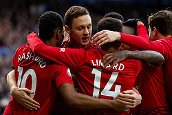 February 3, 2019 - Leicester, England, United Kingdom - Nemanja Matic of Manchester United celebrates with goal scorer Marcus Rashford of Manchester United during the Premier League match between Leicester City and Manchester United at the King Power Stadium, Leicester on Sunday 3rd February 2019. (Credit Image: © Mi News/NurPhoto via ZUMA Press)