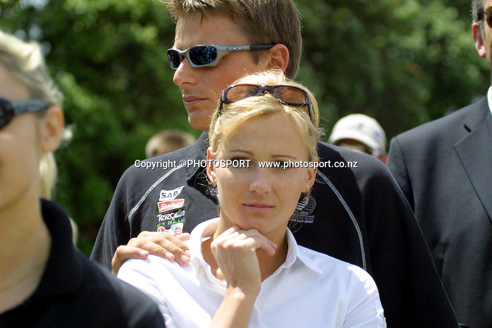 Mandy Smith and Dean Barker, Sir Peter Blake memorial service, Auckland Domain, Auckland. 23 December 2001. Photo: Andrew Cornaga/PHOTOSPORT *** Local Caption ***