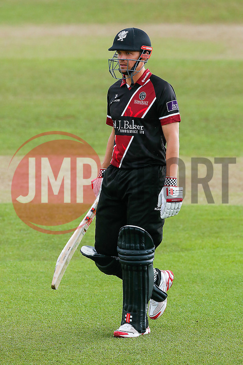 James Hildreth of Somerset walsk off after being caught out by Wes Durston of Derbyshire for 11 (b. Alex Hughes) - Mandatory byline: Rogan Thomson/JMP - 07966 386802 - 26/07/2015 - SPORT - CRICKET - Taunton, England - County Ground - Somerset v Derbyshire Falcons -Royal London One-Day Cup.