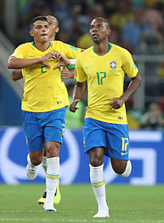 MOSCOW, June 27, 2018  Thiago Silva (L) of Brazil celebrates scoring during the 2018 FIFA World Cup Group E match between Brazil and Serbia in Moscow, Russia, June 27, 2018. (Credit Image: © Cao Can/Xinhua via ZUMA Wire)