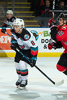 KELOWNA, BC - DECEMBER 30:  Trevor Wong #8 of the Kelowna Rockets skates against the Prince George Cougars at Prospera Place on December 30, 2019 in Kelowna, Canada. (Photo by Marissa Baecker/Shoot the Breeze)