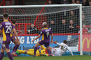 Kyle Howkins scores his goal during the Vanarama National League match between Kidderminster Harriers and Cheltenham Town at Aggborough, Kidderminster, United Kingdom on 26 December 2015. Photo by Antony Thompson.