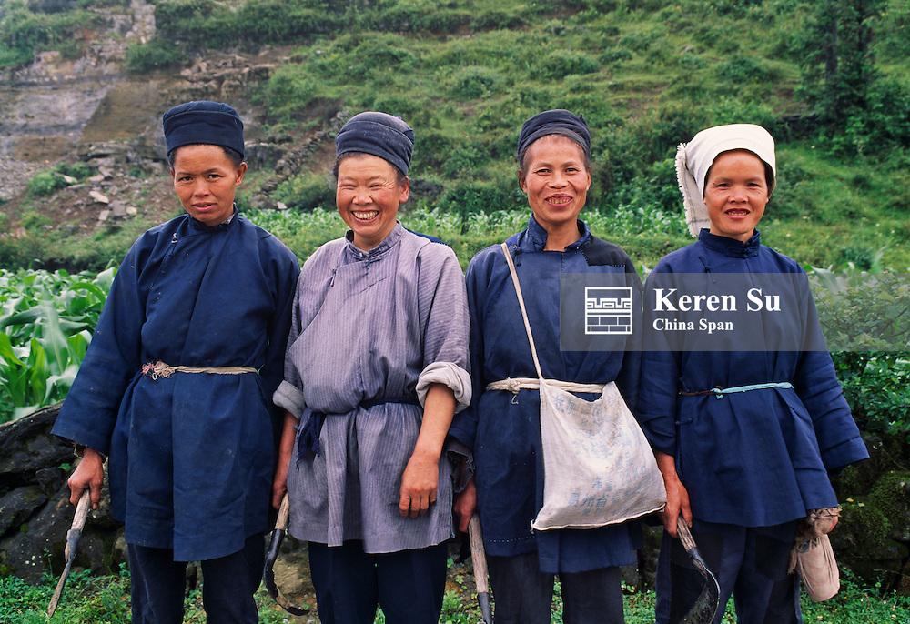 Four Miao women, Guizhou, China