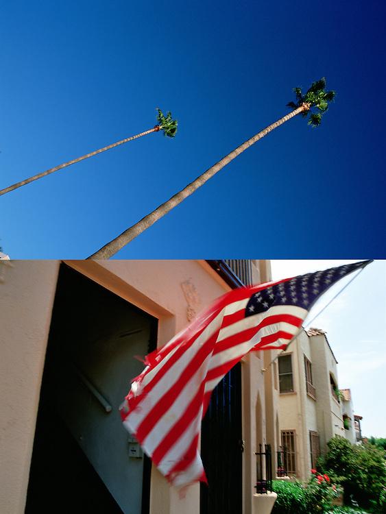 Unas palmeras en Beverly Hills, símbolo de Los Angeles relacionado con el bienestar y el buen clima, se recortan contra el cielo azul profundo de California..Una raida y vieja bandera americana ondea frente a la puerta de un humilde edficio de viviendas en West Hollywood.