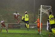 Whitehawk striker Danny Mills scores the opening goal during the The FA Cup 2nd Round Replay match between Whitehawk FC and Dagenham and Redbridge at the Enclosed Ground, Whitehawk, United Kingdom on 16 December 2015. Photo by Phil Duncan.