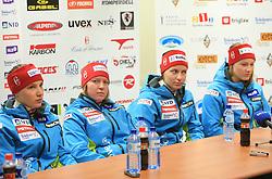 Mateja Robnik, Marusa Ferk, Vanja Brodnik and Ana Drev at press conference of Women Slovenian alpine team before the World Championship in Val d'Isere, France, on January 26, 2009, in Ljubljana, Slovenia. (Photo by Vid Ponikvar / Sportida).