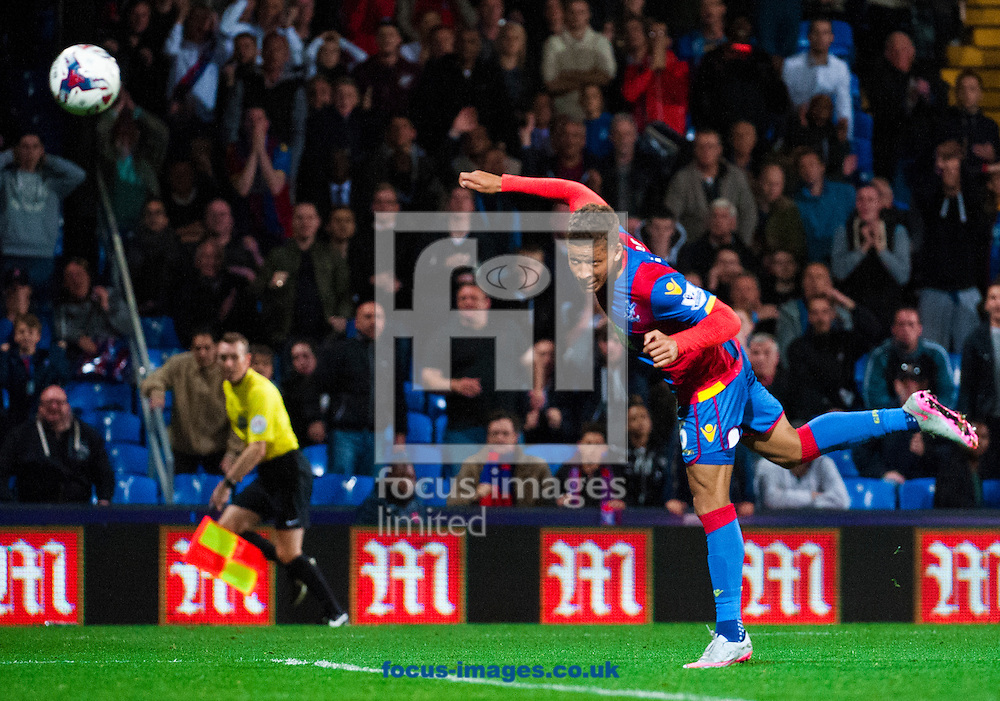 Dwight Gayle of Crystal Palace misses out on a fourth goal with a header from far out during the Capital One Cup match at Selhurst Park, London.<br /> <br /> Picture by Jack Megaw/Focus Images Ltd +44 7481 764811<br /> 23/09/2015
