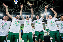 Edo Muric of Krka, Jure Lalic of Krka, Smiljan Pavic of Krka, Jure Balazic of Krka and Matej Rojc of Krka celebrate after the basketball match between KK Union Olimpija and KK Krka in 4th Final match of Telemach Slovenian Champion League 2011/12, on May 24, 2012 in Arena Stozice, Ljubljana, Slovenia.  Krka defeated Union Olimpija third time and became Slovenian National Champion 2011/12. (Photo by Vid Ponikvar / Sportida.com)