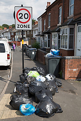 &copy; Licensed to London News Pictures. 25/07/2017. Birmingham, UK. The strike by Birmingham bin men continues as piles of rubbish in certain areas goes uncollected.<br /> Pictured the scene in Nansen Road, Alum Rock.  Photo credit: Dave Warren/LNP