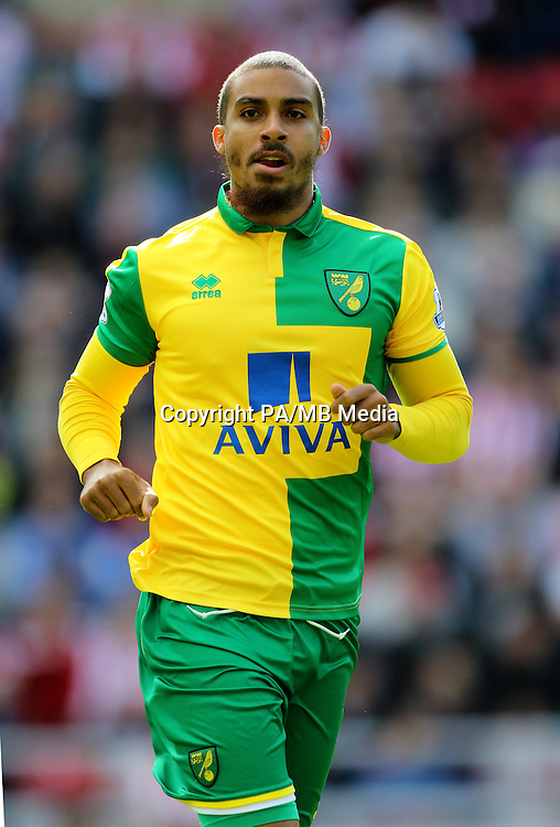 """Norwich City's Lewis Grabban during the Barclays Premier League match at the Stadium of Light, Sunderland. PRESS ASSOCIATION Photo. Picture date: Saturday August 15, 2015. See PA story SOCCER Sunderland. Photo credit should read: Richard Sellers/PA Wire. EDITORIAL USE ONLY. No use with unauthorised audio, video, data, fixture lists, club/league logos or """"live"""" services. Online in-match use limited to 45 images, no video emulation. No use in betting, games or single club/league/player publications."""