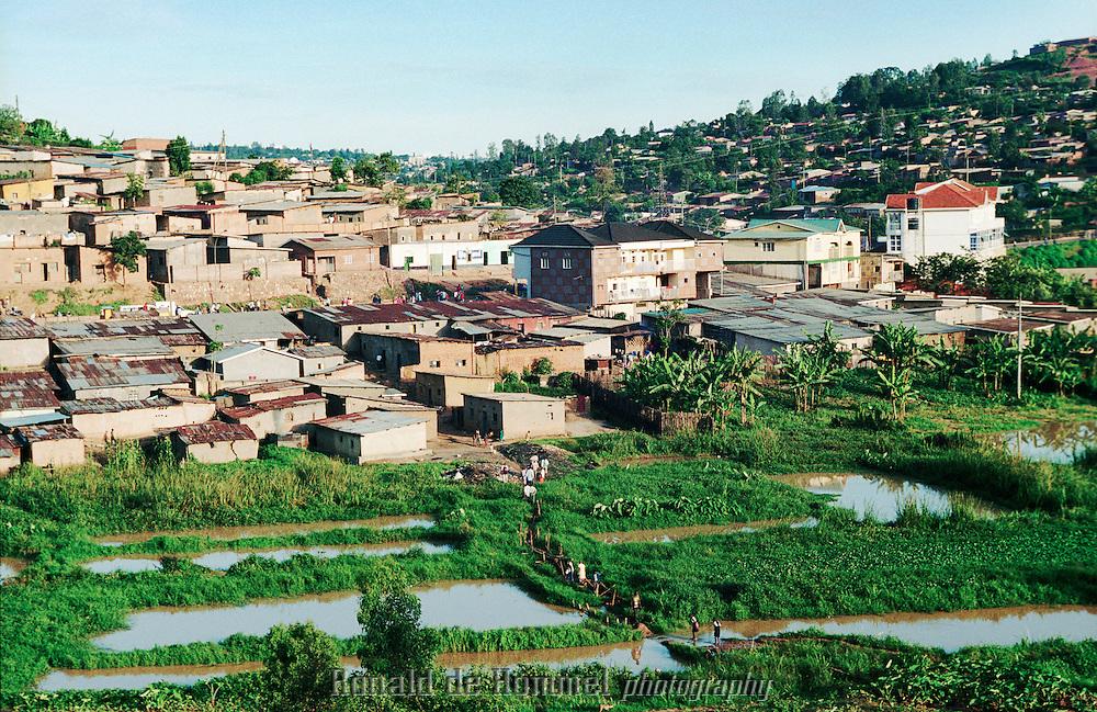 View of a suburb of Kigali, capital of Rwanda